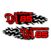 Powered by DA Flame LR 85 Decal